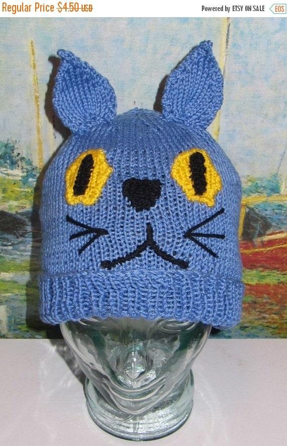 SALE 30% OFF Digital file pdf download knitting pattern madmonkeyknits blue cat beanie animal hat pdf knitting pattern