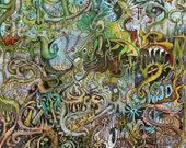 "Psychedelic Outsider Visionary Art - ""The Ides of March"" by Michael J Bowman aka Velveeta Heartbreak - Digital ePrint"