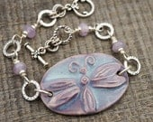 Lavender dragonfly bracelet, purple amethyst beads, silver, 7 1/2 inches long