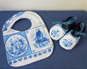 RESERVED for Rachel,  Blue bib and baby booties, Dutch tile style, reclaimed fabric