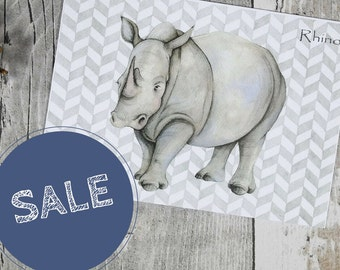 Rhino note card - wildlife art greetings card - rhino illustration