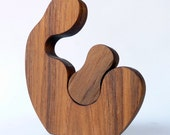 Mother and Child Minimalist Art Reclaimed Teak Sculpture – Hand Crafted