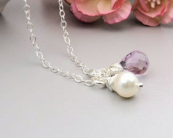 June Birthstone Necklace, Light Amethyst & Pearl Necklace, gemstone briolette, birthstone jewelry, sterling silver