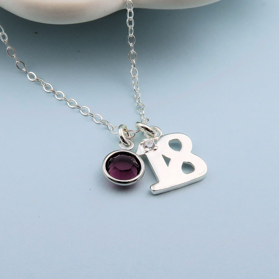 Personalized 18th Birthday Necklace Initial Custom: 18th Birthday Necklace Sterling Silver Custom Birthstone