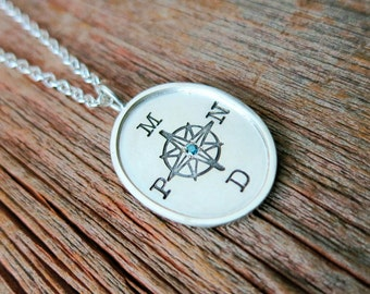 Mom Jewelry Family Compass Rose Pendant Silver Oval Pendant Women's Fashion Handcrafted Luxury Gift by Metal Pressions Love You More