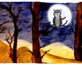 Owl in moonlight spooky night throw blanket from my original art.