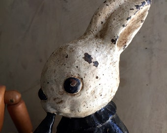 Antoque Hubley Mr Rabbit, Bunny Door stop, Vintage by Nina, Jeanne D'arc Living, French Antique, country home.