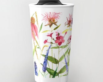 Travel Mug 12 oz Watercolor Botanical Illustration Bees Garden Flowers