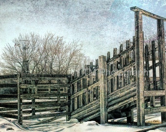 Wooden Cattle Chute - Cattle - Vintage Scene - American West - Cow Town - Ranching - Windmill - Fine Art Photography