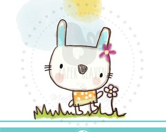 Crayon Cute Bunny clipart - COMMERCIAL USE OK