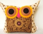 Christmas Sale Brown/ Jumping Forest/ owl pillow/Amy butler fabric/ vintage/Ready to ship (medium size)