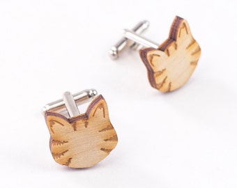 Little Tabby Cat cufflinks - laser cut and engraved wooden jewellery - perfect cat lovers gift