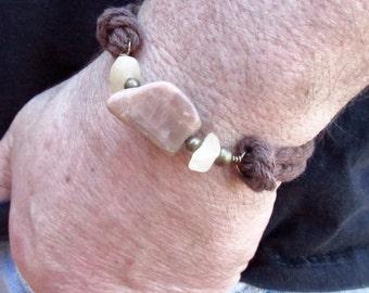 Nautical Rope Bracelet - Mens Boho Gemstone Bracelet - Mens Gemstone Stackable Bracelet - Mens Rope Bracelet - Fathers Day Gift - Boho Cuff