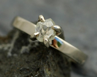 Transparent Conflict Free Raw Diamond on Thin Recycled Gold Band- Custom Made Engagement Ring