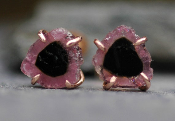 ON SALE Pink and Black Raw Tourmaline Slices in 14k Rose Gold Earrings- Ready to Ship