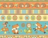 HOOT HOOT HOORAY!  Henry Glass Fabric by the yard border stripe owl fox animal cotton quilt fabric