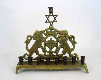 Vintage Brass Menorah with Lions of Judea and Star of David. Circa 1920's.