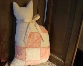 Primitive Cat Made From Early 1900 Much Loved Quilt