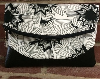 Foldover Clutch Purse, Heidi Foldover Clutch, Purse in Persephone fabric