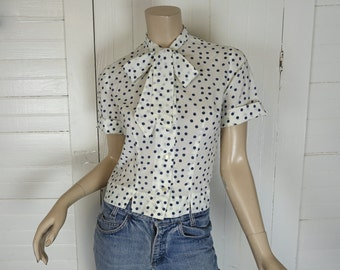 Polka Dot Bow Blouse- 1960s / 60s / Secretary / School Top- Navy Blue & White- Medium
