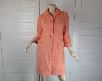 60s Swing Coat in Salmon Pink- 1960s Classic Wool- Small- Peach / Coral