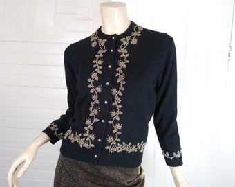50s Beaded Cardigan in Black & Gold- 1950s Pin Up Sweater- Small