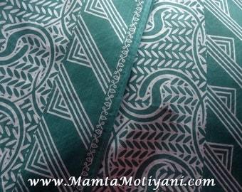 Sea Blue Block Print Fabric, Printed Cotton Fabric, Indian Saree Fabric By The Yard, Block Print Fabric, Geometric Print Cotton Fabric