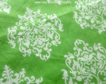 Indian Block Print Fabric By The Yard, Green Damask Fabric, Ethnic Fabric, Indian Fabric, Indian Cotton Fabric, Hand Printed Fabric, India