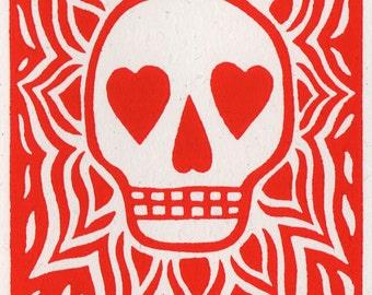 Love Flaming Skulls. Linocut Greeting Card
