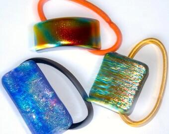 Handmade Three Ponytail Holders, Dichroic Glass