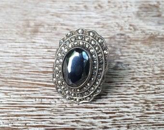 Marcasite Silver Ring Vintage Art Deco Hematite Marcasite