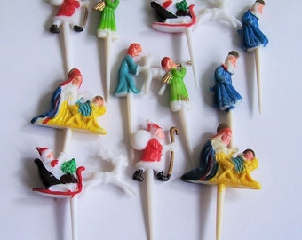 12 Vintage Christmas Cupcake Picks