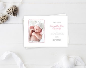 Baby Girl Newborn Birth Announcement with Pink Hearts Border and Whimsy Text that Says Our Little Love