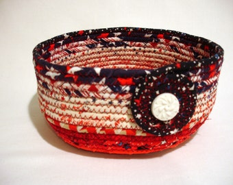 July 4th Patriotic Red White and Blue Coiled Fabric Bowl