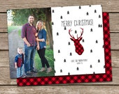 Photo Christmas Card Template: Buffalo Plaid Deer Silhouette Merry Christmas Custom Photo Holiday Card Printable