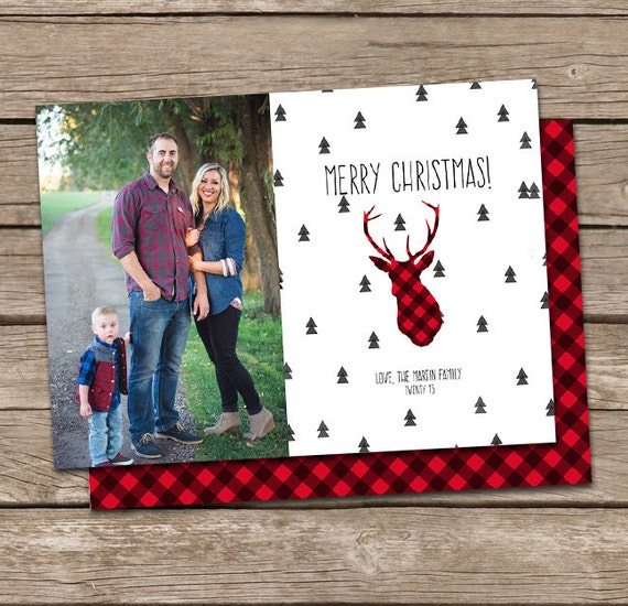 Photo Christmas Card Template: Buffalo Plaid Deer Silhouette Merry Christmas Custom Photo Holiday Card Printable