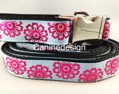 Dog Collar and Leash, Shocking Flowers, 6ft leash, 1 inch wide, adjustable, quick release, metal buckle, chain, martingale, hybrid, nylon