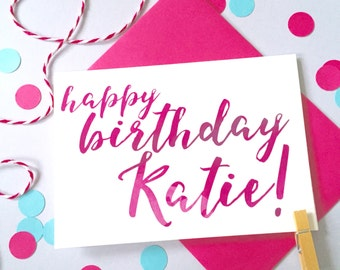 Calligraphy Birthday Card – Personalised Birthday Card – Birthday card for daughter - Birthday card for son - birthday card for friend