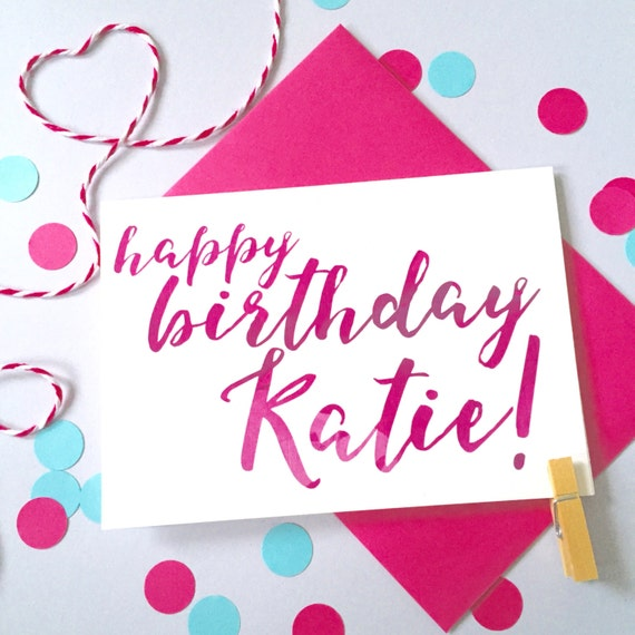 Calligraphy birthday card personalised