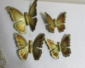 Wall Hanging Butterfly Metal Set of 4 Gold Tone