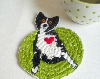 Dog Coaster - Crochet Coaster - Animal Coaster - Border Collie Coaster - Pet Lover Gift - Unique Dog Art - Gift for Dog Lover - Crochet Dog