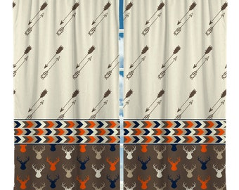 Custom Window Curtain Arrows and Deerheads - Valance or curtain panels- Any Size - Any Colors