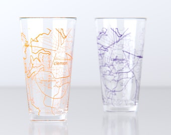 Clemson, SC - Clemson University - College Town Pint Map Glasses