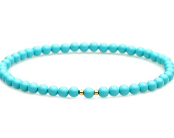 Sleeping Beauty Turquoise Beaded Bracelet Southwest Blue Petite Everyday Feminine Flare Stackable Stretch Jewelry by Mei Faith