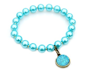 Blue Druzy Charm Bracelet Aqua Blue Beaded Pearl Stacking Stretch Bracelet High Fashion Style Chic Feminine Flare by Mei Faith