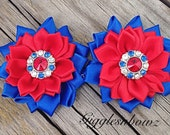 "4th of July Satin Flowers- Satin Ribbon Flowers- 1.75""- Headband Flowers- Diy Supplies- Fabric Flowers- Hair Accessories- Rhinestone Flowers"