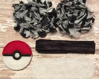 DIY Headband Kit- Pokemon Headband Kit- Makes 1 headband, Do it Yourself- Feltie Headband- Baby Headband Kit- DIY Supplies