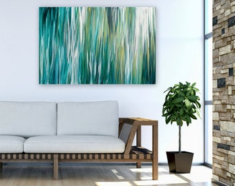 Large Abstract Painting, Acrylic 24x36 Canvas Wall Art, Contemporary Beach Home Decor, teal turquoise green gold white, water reflections