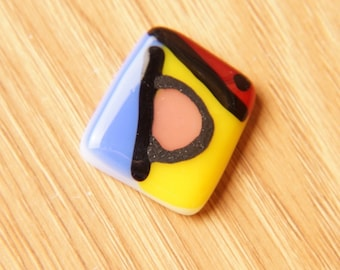 Dichroic Fused Glass Focal Cab Bead Pendant Necklace ...Mondrian...