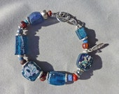 Peacock Blue Roman Glass Bracelet with Antique Red Beads
